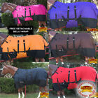 "66""- 84"" HILASON 1200D WINTER WATERPROOF HORSE BLANKET W/ SURCINGLE BELLY WRAP"