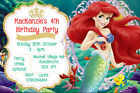 Personalised Princess Ariel The Little Mermaid Birthday Party Invites + envs MM