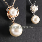 Fashion White Pearl Necklace Pendant 18KGP Crystal Rhinestone