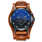 Curren Fashion Men's Military Army Date Leather Quartz Analog Sport Wrist Watch