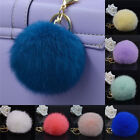 Rabbit Fur Ball PomPom Cell Phone Car Keychain Pendant Handbag Cute Key Rings EW