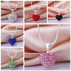 Fashion Women Pendant Jewelry Crystal Heart 925 Silver plate Necklace+Chain