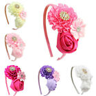 Girls Hair Hoops with Ruffles Rose Flower Costume Party Decor for Kids EW