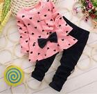 Kids Baby Girls Clothing Long Sleeve Bowknot Dress + Pants Set Outfit NEW