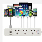 Power Board 3 Way Outlets Socket 4 Usb Charging Charger Ports w/Surge Protector