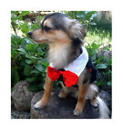 NEW DOG Clothes TUXEDO TUX VEST Wedding Jacket RED BOW TIE BLACK 4 SM BREED