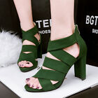 Stylish Block Heels Suede Peep-toe Sandals Hollow Out Strappy Zipper Women Shoes