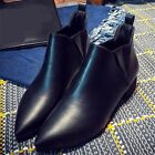 Fashion Faux Leather Pointed Toe Block Heels Booties Ankle Boots Women's Shoes