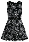 Girls Party Dress New Kids Black Sleeveless Flare Skater Dresses Ages 7-13 Years