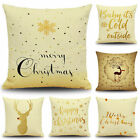 New Golden Merry Christmas Linen Cushion Cover Pillow Case Sofa Home Decor RR