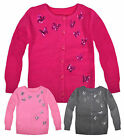 Girls Cardigan New Kids Long Sleeved Sequin Butterfly Knitted Jacket 2-12 Yrs