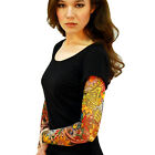 Wild Rose Ladies Burnout Tattoo Sleeve Black V-Neck T-Shirt Day of the Dead