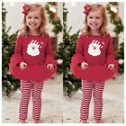 2PCS Kids Baby Girls Xmas Outfits Clothes T-shirt Tops Dress+Pants Leggings Sets