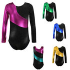 Girls Gymnastics Leotard Long Sleeve Athletic Skate Ballet Dance Bodysuit 2-13Y