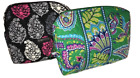 VERA BRADLEY LARGE COSMETIC BAG HEATHER OR EMERALD PAISLEY OR CHEERY BLOSSOMS