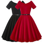 New Womens Vintage 1950s 40s Retro Pinup Swing Belt Cocktail Party Evening Dress