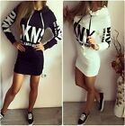 Polyester Size Hooded Jersey Bodycon Dress Letter Print Slim Long Sleeve Hoodies