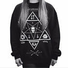 harajuku style Star print Skull Cross sweatshirts winter new pullover tb
