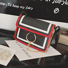 women small square package spell color metal ring chain shoulder Messenger bag