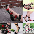 Crystal Sock Sheer Thin Transparent Ice Silk Black Lace Ankle Flower Socks EW