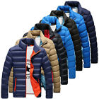 Winter Men's Thick Padded Down Jacket Slim Fit Stand Collar Quilted Zipper Coat
