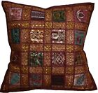 "Cushion Covers 16""x16"" Indian Heavy Embroidery Sari Patchwork Square zip 40cm"