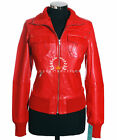 Brooklyn Red Ladies Women's Smart Casual Real Lambskin Bomber Leather Jacket