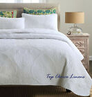 Queen Rococo Style Cotton Quilted Coverlet/BedSpreads 3Pc Set- White/Beige
