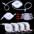 1/2/3M Retractable Fast Micro USB Data&Sync Charger Charging Cable For Cellhone