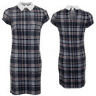 Ladies Short Sleeve Peter Pan Collar Contrast Check Tartan Print Bodycon Dress