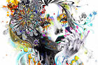 Girl Within Flowers Abstract Colourful WALL ART CANVAS FRAMED OR POSTER PRINT