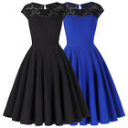 Retro Vintage Hepburn Style Lace Cocktail Dress Party Swing Pin Up Evening Dress