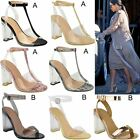 Womens High Clear Heels Ankle Strappy Open Toe Ladies Sandals Celeb Shoes Size