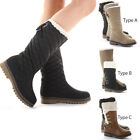 Ladies Flat Winter Fur Quilted Snow Low Heel Calf High Leg Knee Boots Size New