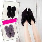 Yoocart Low Heeled Pointed Toe Suede Asnkle Boots Down Women Warm Shoes