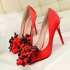 Sequin Big Bow Satin High Heels For Women Slim Stilettos Shoes Pointed Toe Pumps