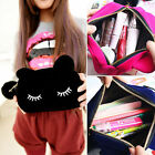 Cartoon Cat Storage Case Travel Makeup Flannel Pouch Cosmetic Bag Ornate New