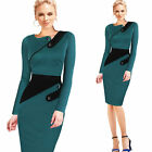 Elegant Cocktail Evening Dresses Long Sleeve Women Bodycon Peplum Pencil Dress