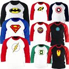 Superhero FILM Marvel DC COMICS Batman Superman Flash GL Baseball tshirt A9