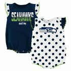 NWT NFL Seattle Seahawks Infant Girl's 2-Pack Polka Dot Creepers: 12 - 24 months