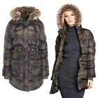 Brave Soul Womens Angel Camo Padded Parka Jacket New Ladies Faux Fur Hooded Coat