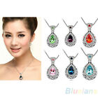 Women Vintage Crystal Rhinestone Water Drop Pendant Necklace Jewelry Gift Hot