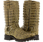 mens western cowboy rodeo motorcycle leather biker crocodile square toe boots