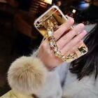 Luxury Bling Mirror Pearl Fox Fur Plush Strap Chain Soft Case For iPhone&Samsung