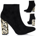 Womens Crushed Metal Block Heel Ankle Boots Shoes Sz 3-8