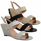 Ladies Wedge Sandals Open Toe Diamante Mid Wedge Heel Slingback Womens Shoes