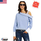 New Women's Striped Shirt Off Shoulder Long Sleeve T-Shirts Cotton Blouse Tops