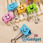 Colourful Cute Smiley Face Binder Clips Paper Fastener Set - 8, 16 or 24 - UK