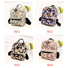 Women Backpack Clock Flowers Printing Canvas Shopping Travel Outdoor Backpacks