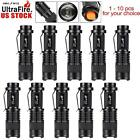 1 To 10 pcs Zoomable 6000 LM CREE LED Torch 3 Modes Pocket Outdoor Lamp USA KJ